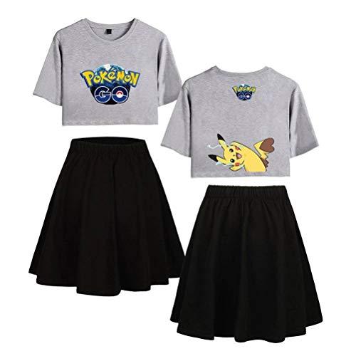 Justtime Set top en rok voor T-shirt, bedrukt, set met Crop Top, zomer, korte rok, 2-delige set voor vrouwen XS 1 Gris Noir