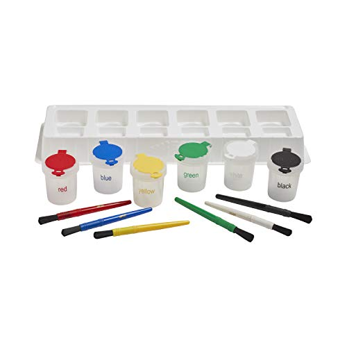 ECR4Kids No-Spill Paint Cups - Mini Trilingual Cups Set & Matching Paint Brushes with Tray - Art Supplies for Kids and Toddlers (13-Piece Kit)