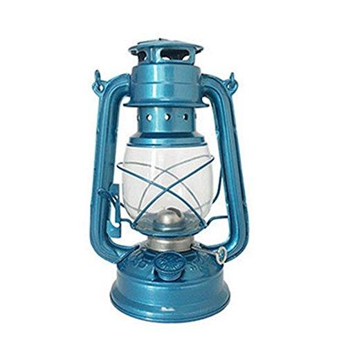 GOZAR Vintage Retro Queroseno Lámpara Portátil Al Aire Libre Camping Luces Metal Camping Luz Linterna De Cristal Creativa Casa Mejor Regalo Creativo Regalo-Azul