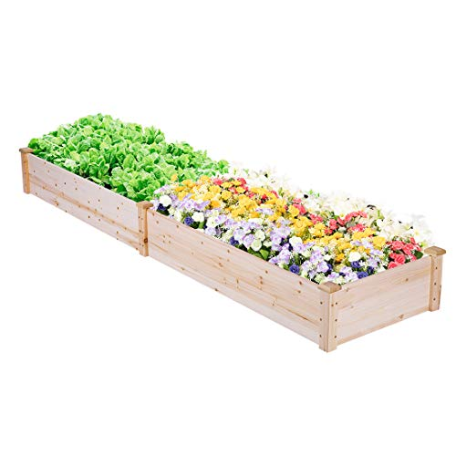 VIVOHOME Wooden Rectangle Elevated Raised Garden Bed Planter Box for Flower Vegetable Grow 96 Inch x 24 Inch x 10 Inch