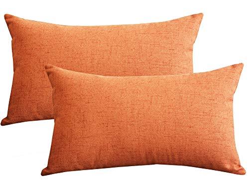 Lutanky (Paquete de 2) Fundas de Almohada de Tiro de Lino Preciosas Funda de cojín para Almohada de rectángulo Suave para Dormitorio de sofá (30 x 50 cm)(Naranja, 2 Piezas)