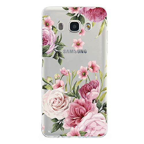WIWJ Handyhülle für Samsung Galaxy J5 2016(SM-J510) Hülle Weich TPU Case Mikroporös Design Ultra dünn Silikon Gel Cover Clear Transparent Durchsichtig Schutzhülle Mädchen Kratzfest Bumper Tasche-Rosa