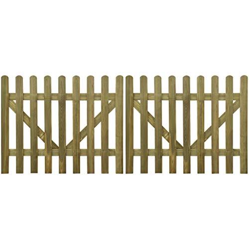 vidaXL 2x Bois Imprégné Portail à Piquets 300x120 cm Porte de Jardin Terrasse