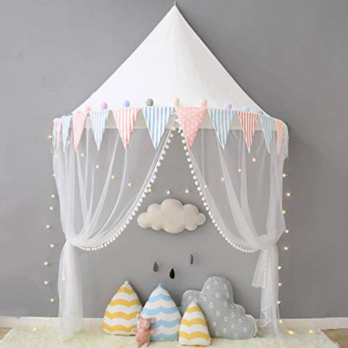 N-B Tienda de campaña para niños con diseño de castillo de algodón plegable para niños, tienda de campaña, cortina para cuna de bebé, malla para decoración de habitación de niños