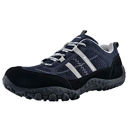 Knixmax - Zapatillas de Senderismo para Hombre, Zapatillas de Montaña Trekking Trail Ligeros Cómodos y Transpirables Zapatillas de Seguridad Low-Top Antideslizante de Deporte, Azul EU 45