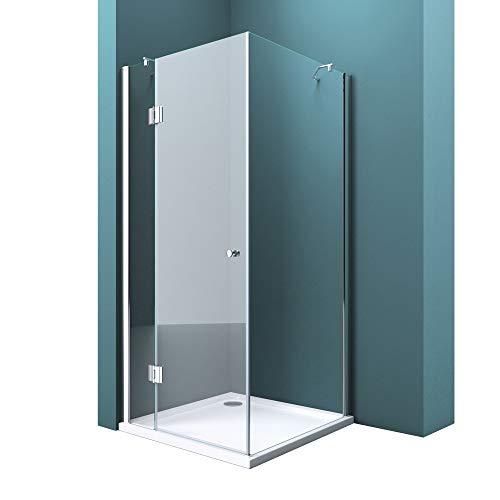 Duschabtrennung Klarglas 90x90, 8mm ESG-Sicherheitsglas, Duschwand aus Echtglas, Nanobeschichtung, Duschkabine R05k