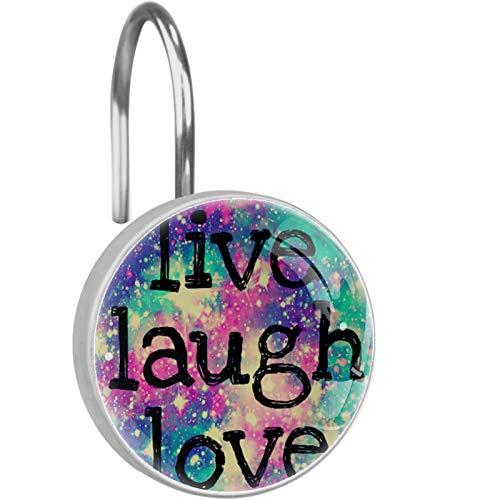 Ganchos de Cortina de Ducha Decorativos de Vidrio de 12 Piezas,Anillo de Acero Inoxidable a Prueba de Herrumbre Redondo para Cortinas de Barra de Ventana de baño,Live Laugh Love