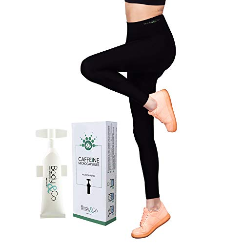 Body&Co Kit Sport Legging Emana® hohe Taille + 1 Wirkstoff Nachfüllpackung 10ml nach Wahl (M/L, 1 Nachfüllung 10 ml KOFFEIN)