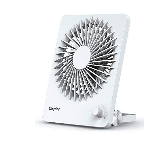 EasyAcc Ventiladores USB Mini Portátil con Batería Recargable 2600mAh Diseño de Interruptor de Velocidad Variable Ajuste 160 Grados Moda Ligero para Camping Biblioteca Oficina Coche - Blanco