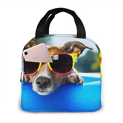 Gafas de sol Holiday Dog Bolsa de almuerzo con aislamiento impermeable, Bolsa de almuerzo reutilizable Lonchera térmica con bolsa de bolsillo para el trabajo escolar