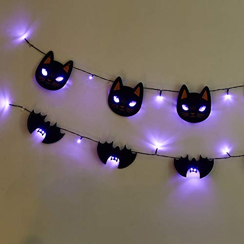 PEIDUO Set of 2 Halloween Banner String Lights with Black Cats and Bats Ornaments Purple LED Hanging Lights Battery Powered Fairy Lights Decoration for Halloween Bedroom Party Decorations