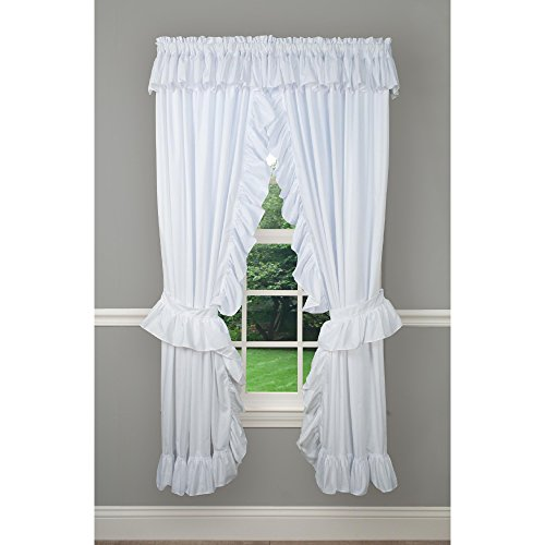"Priscilla Classic Rod Pocket Curtain Panel Pair (White, 84"" W x 63"" L)"