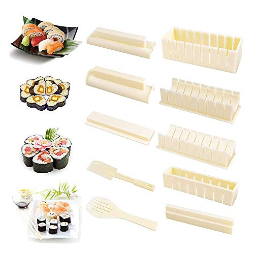 Sushi Making Kit Delux, Sushi Making Kit Beginners with Ingredients,with Complete Sushi Set 10 Pieces Plastic Sushi Maker Tool,DIY Plastic Sushi Maker Mold