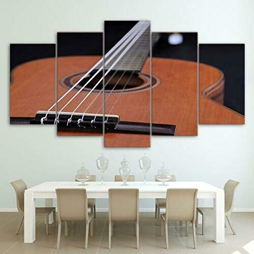 TBNB Abstract Canvas Wall Art Guitar Instrument 5 Panel Wall Art Modern Artwork Home Decor for Living Room Giclee Framed Gallery-Wrapped Ready to Hang(60''Wx32''H)