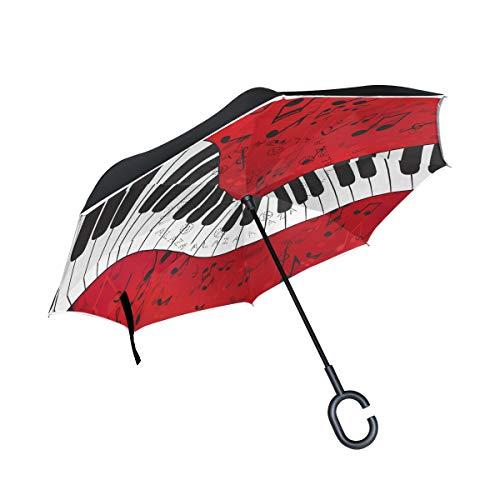 Wamika Regenschirm mit abstraktem Klavier-Motiv, mit Musiknote, rot, doppellagig, winddicht, selbststehend, UV-Schutz, kein Auto, großer gerader Regenschirm mit C-förmigem Griff für Autoregen