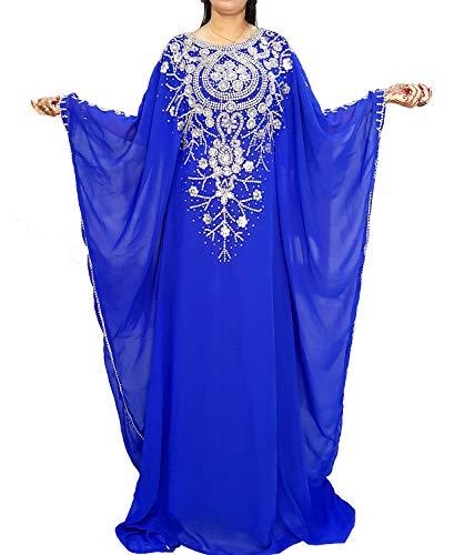 African Boutique Dubai Kaftan Kleider für Damen Abendkleid Maxi-Langkleid Elegantes Hochzeitskleid - Blau - Einheitsgröße