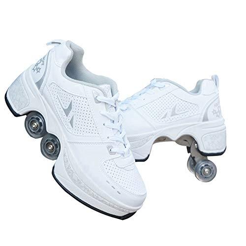 JTKDL Rollschuh Roller Skates Lauflernschuhe, Sneakers, 2 In 1 Mehrzweckschuhe Schuhe Mit Rollen Skateboardschuhe,Inline-Skate,Verstellbare Quad-Rollschuh Stiefel