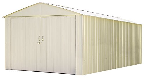 Arrow Steel Storage Shed 10 x 25 Ft. High Gable Galvanized, Eggshell