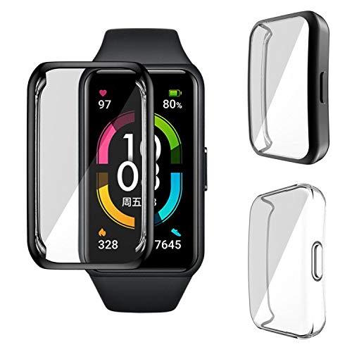 GEEMEE Hülle für Honor Band 6/Huawei Band 6,TPU Cover Schlankes Watch Case Anti-Scratch Shell für Displayschutz - (Black)