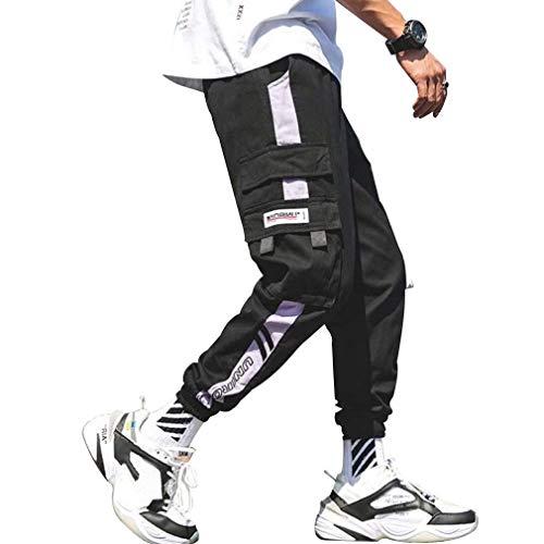 Tasty Life Pantalones De Hip-Hop para Hombres, Pantalones Casuales De Moda, Pantalones Sueltos con Bolsillos Laterales con Cordón, Ropa De Rock para Adolescentes Estilo Harajuku(M,Black)