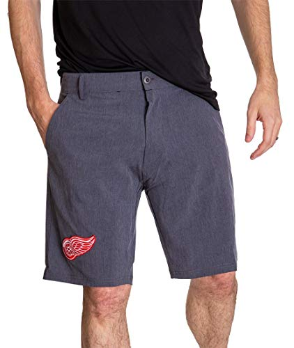 Calhoun NHL Mens 4-Way Stretch Performance Shorts (Detroit Red Wings, Large)