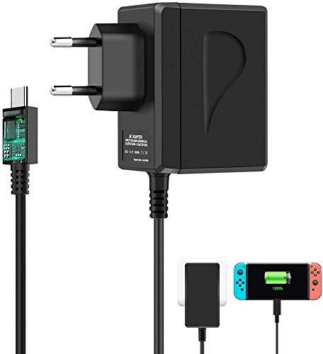 Nintendo Switch AC Adapter, Caricabatterie per Nintendo Switch / Switch Lite, PD Tipo-C Adattatore Carica Rapida con Alimentazione 5.9 FT 15V 2.6A Supporta la Modalità TV e Controller Dock & Pro