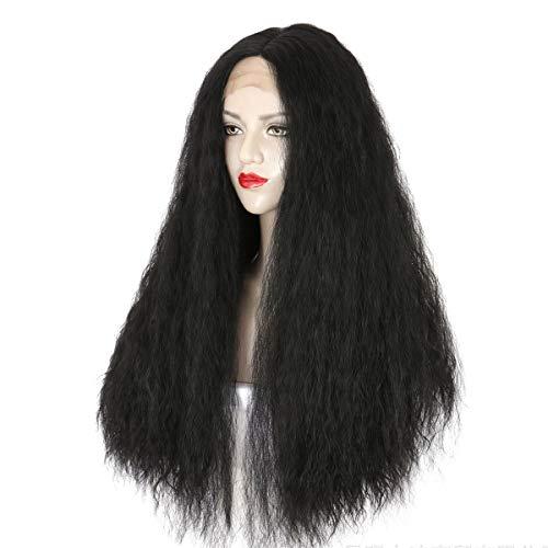 JenLn Peluca Señoras Fluffy Maid Whisker Largo Cabello Rizado Frontal Peluca Peluca Peluca de Moda Natural Pelo de Fibra Resistente al Calor (Color : Black, Size : 64cm)