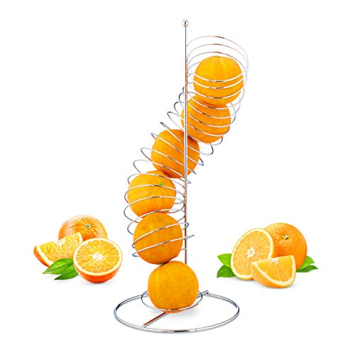 Relaxdays Frutero de Cocina Moderno en Espiral, hasta 7 Naranjas o Manzanas, Metal, 48 x 21 x 21 cm, Plateado
