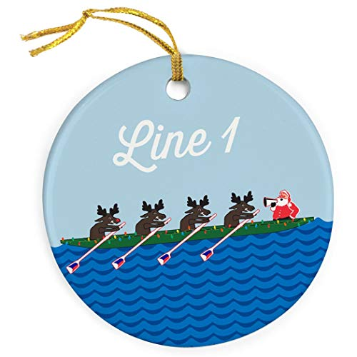 Mesllings Personalized Crew Porcelain Ornament | Rowing Reindeer Christmas Ornament