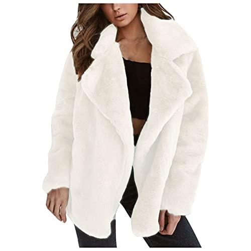 Alueeu Chaqueta para Mujer Moda Sólida Polar Casual Otoño Invierno Tops Manga Larga Parka Cálida Outwear Abrigo Turn Down Collar Overcoat Ladies Jacket