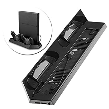 OSTENT Dual Motors Cooling Fan Radiator Charger Station USB Hub Vertical Stand for Sony PS4/Slim Console