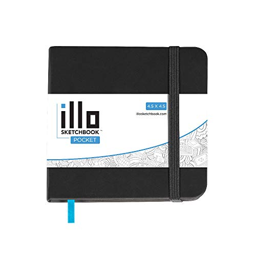 illo Sketchbook, Pocket, Small, Square, Sketch Book, Premium, 180 GSM Paper, (4.5x4.5) Hardcover Notebook, Lay Flat, Smooth Paper, Thick Paper, Elastic Enclosure and Ribbon Marker