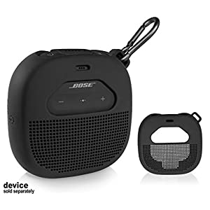 Micro Bluetooth Speaker  Featured Design with mesh Pocket for Cable and Other Accessories, Elastic Strap to Secure Device