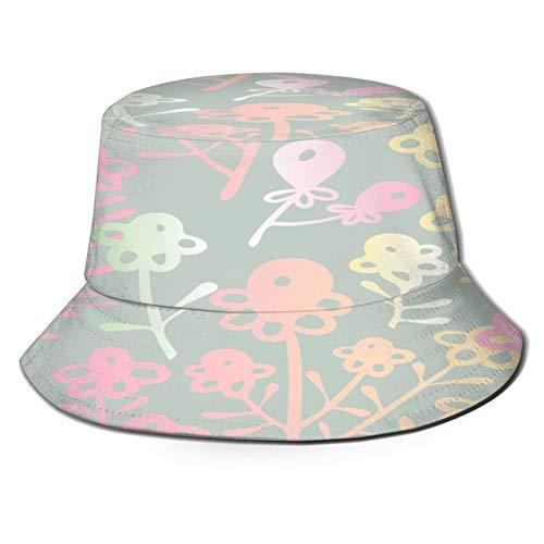 PUIO Sombrero de Pesca,Patrón Sin Fisuras con Flores Abstractas Diseño Ornamental,Senderismo para Hombres y Mujeres al Aire Libre Sombrero de Cubo Sombrero para el Sol
