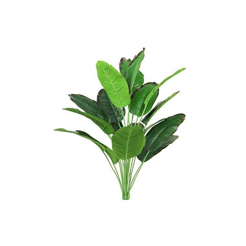 silk flower arrangements artificial palm plants banana leaves faux platic turtle leaf 32 inch fake tropical large bird of paradise tree leaves imitation leaf for indoor outside home décor (red wine/bird of paradise)