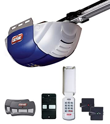Genie 2042-TKC 800 1/2+ HP DC Belt Garage Door Opener with 2 3-Button Remote Wall Console, Wireless Keypad and Safe-T-Beams