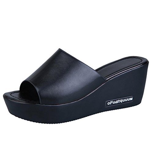 Ansenesna Sandalen Damen Sommer Leder Absatz Keilabsatz Plateau Wedge Peep Toe Elegant Sommerschuhe Mädchen Dicke Sohle Comfort Schuhe (37, Schwarz)
