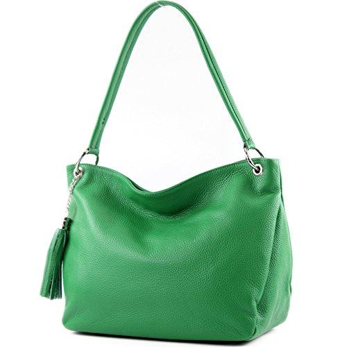 modamoda de - T154 - ital Schulter-/Umhängetasche aus Leder, Farbe:Grün