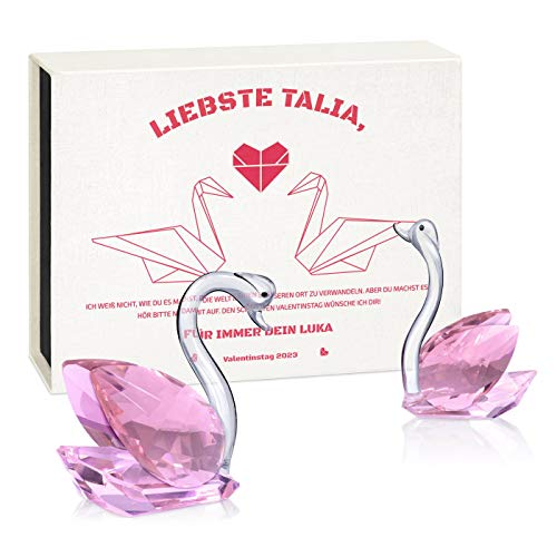 Murrano 2 Kristallglas-Schwan-Figuren - in personalisierter Box - Dekofiguren - Briefbeschwerer - Geburtstagsgeschenke für Damen - Ehefrau - Fre&in - Valentinstag - Origami