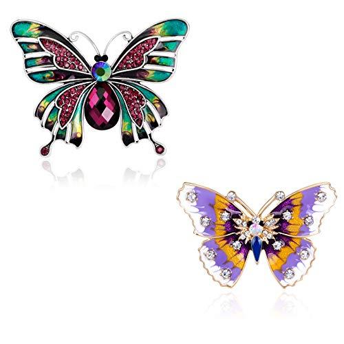 2 Stücke Brosche, Schmetterlings Brosche, Bunte Brosche Pins Legierung, Fashion Insekt Boutonniere, Ideale Geschenkauswahl für Frauen und Männer mit Einem Schönen Geschenkkasten (2 Stile)