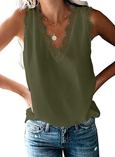 Uusollecy Damen Tank Top Sommer Ärmellose Chiffon Blusentop Spitzen V-Ausschnitt Weste Top Casual Shirt Tops Bluse