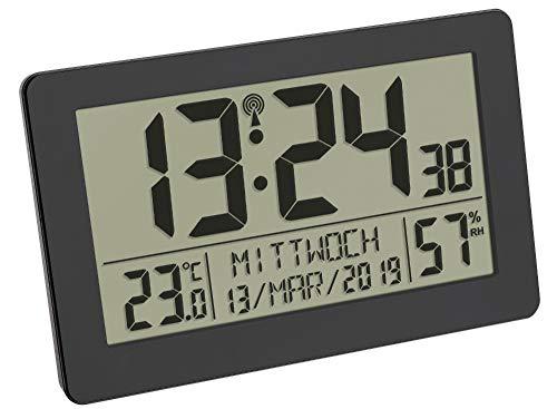 TFA Dostmann 60.2557.01 Digitale Funkuhr mit Raumklima und Hintergrundbeleuchtung (schwarz mit Batterien)