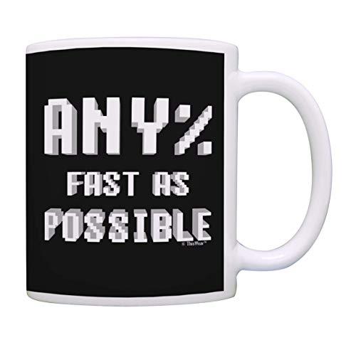 Tasse Kaffeebecher Kaffeetasse Becher Speedrunner Gamer Beliebig% schnell wie möglich Retro Game Controller Kaffeetasse Teetasse Schwarz 330Ml