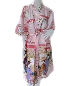 roming-shop BATHROBE Geisha Kimono Women s Satin Silk Robe - One Size