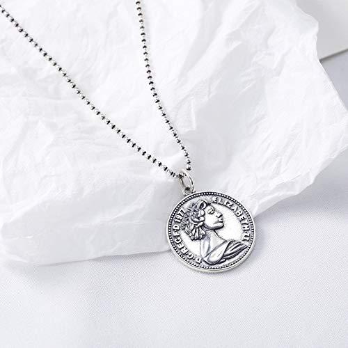 WWF S925 Sterling Silber Mode Wilde Münze Halskette Lange Pullover Kette Retro Handwerk Halskette Weiblich,Silber,54 + 3cm