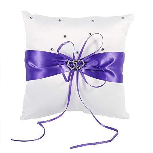 Yosoo Braut Hochzeits Ringkissen Taschen Kissen Träger Mit Doppelten Herzen Dekoration, Elfenbein-Weiß/Rot/Blau/Lila 20cm × 20cm (Farbe : Lila)