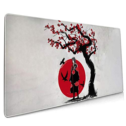 Anime Naruto Akatsuki Uchiha Itachi Gaming Keyboard and Mouse Pad Large Extended Gamer Mouse Mat Non-Slip Rubber Full Desk Mousepad for Computer Laptop Office 15.7 x 35.4 Inch