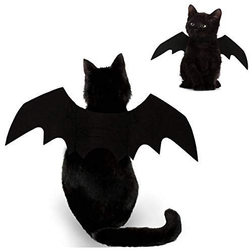 Feeke Cat Halloween Costume - Black Cat Bat Wings Cosplay - Pet Costumes Apparel for Cat Small Dogs...