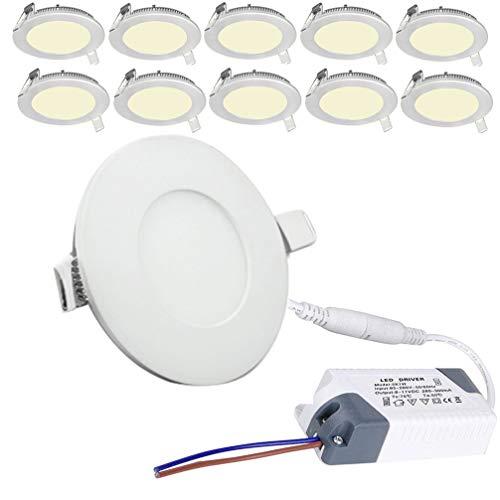 BFYLIN 10X9W Plafon Techo LED Downlight focos led empotrables Panel led Blanco Cálido,Foco Empotrable Plafón Luz de Techo (10x9W Blanco Cálido)