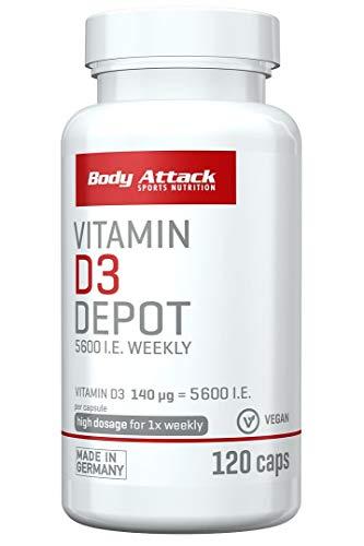 Body Attack Vitamin D3 Depot - hochdosiert 5600 i.E. - hohe Bioverfügbarkeit - pflanzliche Kapselhülle (120 Caps)